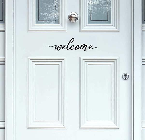 BERRYZILLA Welcome Decal 12 X 3 Front Door Vinyl Black Decal Script Handwriting Wall Art Decor Sticker Lettering