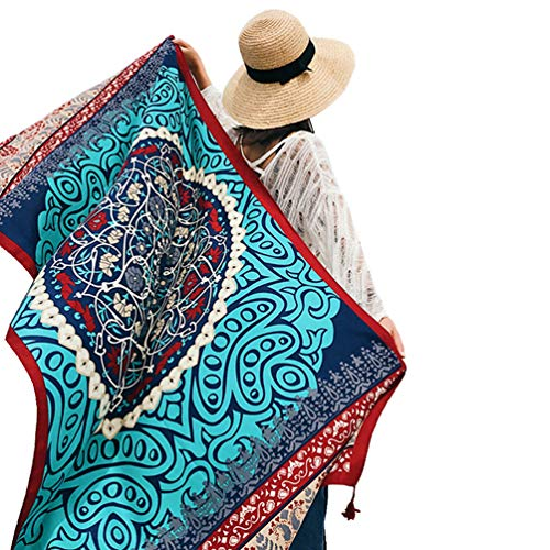 SUNBABY Women Boho Shawl Beach Towels Rectangle Polyester Scarf Travel Sarong Wrap Swimwear Cover Up Beach Mats, Blue Totem, 7539inch