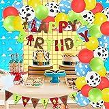 Historia de dibujos animados globo guirnalda decoraciones de cumpleaños con guirnalda feliz cumpleaños bandera vaca nube impresión globos rojo amarillo azul verde globos