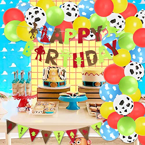 Cartoon Story Balloon Garland Birthday Decorations with Garland Happy Birthday Banner Cow Cloud Print Balloons Red Yellow Blue Green Balloons