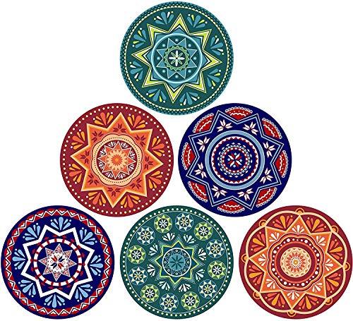 Set di sottobicchieri assorbenti in stile mandala, per evitare graffi e sporchi, adatti per tipi di tazze, 10 cm, set da 6