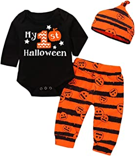 Halloween Newborn Baby Boy Outfits My First Halloween Romper+Pumpkin Pants+Hat 3pcs Clothes Set