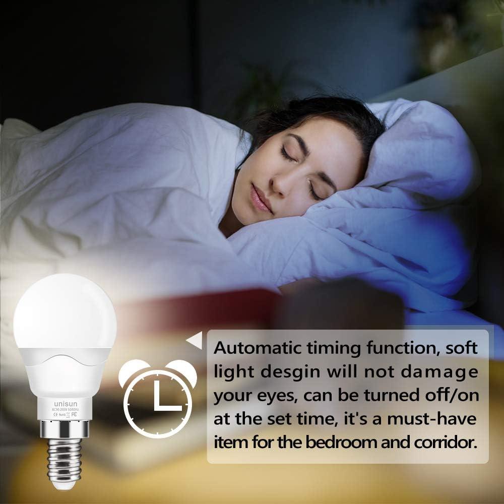 4er-Pack Energieklasse A + dimmbar 6 W E14 Edison-Schraube RGBW-LED-Gl/ühbirnen Farbwechsel-Leuchten mit Dual-Memory-Timing-Funktion 40 Watt-/Äquivalent Unisun Farbwechsel-Gl/ühbirne