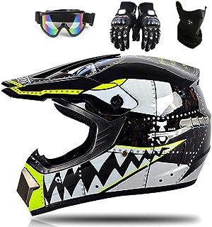 YXCXY Hai Motocross Helm Motorradhelm Kinderhelm Cross Fullface Helm Motorradhelm Schutzhelm Set Downhill MTB Quad BMX ATV Helm Geschenke (Schutzbrille, Maske, Handschuhe) (schwarz,M)