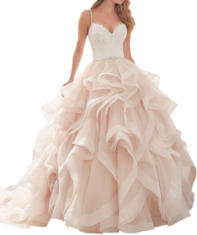 XSWPL Caramel Beaded Open Back Wedding Dresses Bridal Gowns