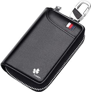 キーケース 本革 レザー 車 スマートキー ic カード入り 免許証 小銭 札入れ付き ファスナー 6連 キーホルダー 多機能 メンズ 大容量 カード型 コンパクト プレゼントに