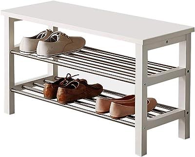Amazon.com: Banco de zapatos de madera Giantex con estante ...