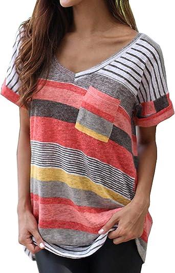 EUFANCE Camisas Verano para Mujer Camisa De Jersey Casual Blusa Manga Corta con V Tops Rayas Elásticas