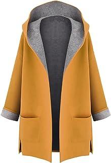 Abrigos Vintage Mujer LANSKIRT Mujeres Invierno Tallas Grandes C/álido Outwear Enrejado Bolsillos Chaqueta con Capucha