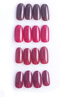 Laza 96 Pcs Colorful Fake Nails Ruby Red Full Cover Oval Medium UV Top Coat Artificial Acrylic Nails - Brilliant