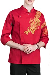 Mens Chef Style Chinese Unisex Dragon Fashion Long Sleeve Jacket Coat