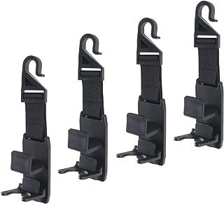 Portable Car Seat Headrest Hooks Hangers, Universal Backseat Vehicle Front Back Headrest Hook Hanger Holder for Car Seat Organizer for Handbags, Purses, Coats, and Grocery Bags, Bottle Holder (4 Pack)