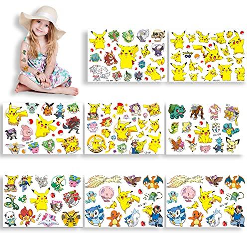 Pokemon Tatuajes Temporales para Niños, Pikachu Pegatinas de Tatuajes Falsos, Pegatinas de Regalo para Niños, Tatuajes Animales Pegatinas, Dibujos Stickers para Fiesta de Cumpleaños Regalo, 8 Hojas