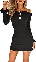 RICHKOKO Women Off Shoulder Ruffle Long Sleeve Tight Waist Knit Mini Dress(XXL,Black)