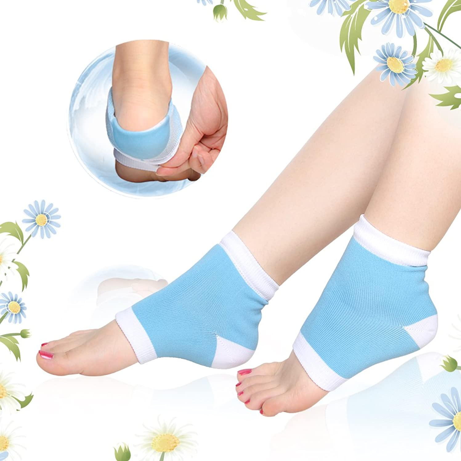 成功する本能原理かかとケア 靴下, ひび/角質ケア 保湿 ソックス うるおい 足首用サポーター フットケア グッズ ヨガソックス 左右セット フリーサイズ By Dr.Orem