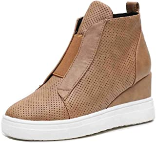 Womens Wedge Sneakers Fashion High Top Closed Toes Platform Sneaker Booties Flat Shoes
