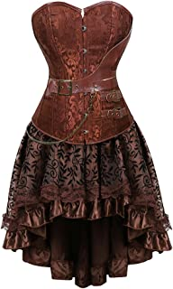 frawirshau Women's Steampunk Costume Corset Dress Halloween Costumes Steam Punk Gothic Corset Skirt Set