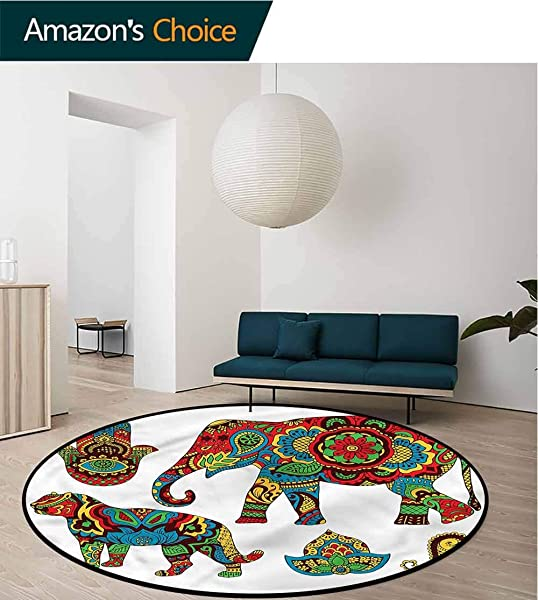 RUGSMAT Hamsa Modern Washable Round Bath Mat African Animals Ornate Coffee Table Mat Non Skid Living Room Carpet Diameter 59