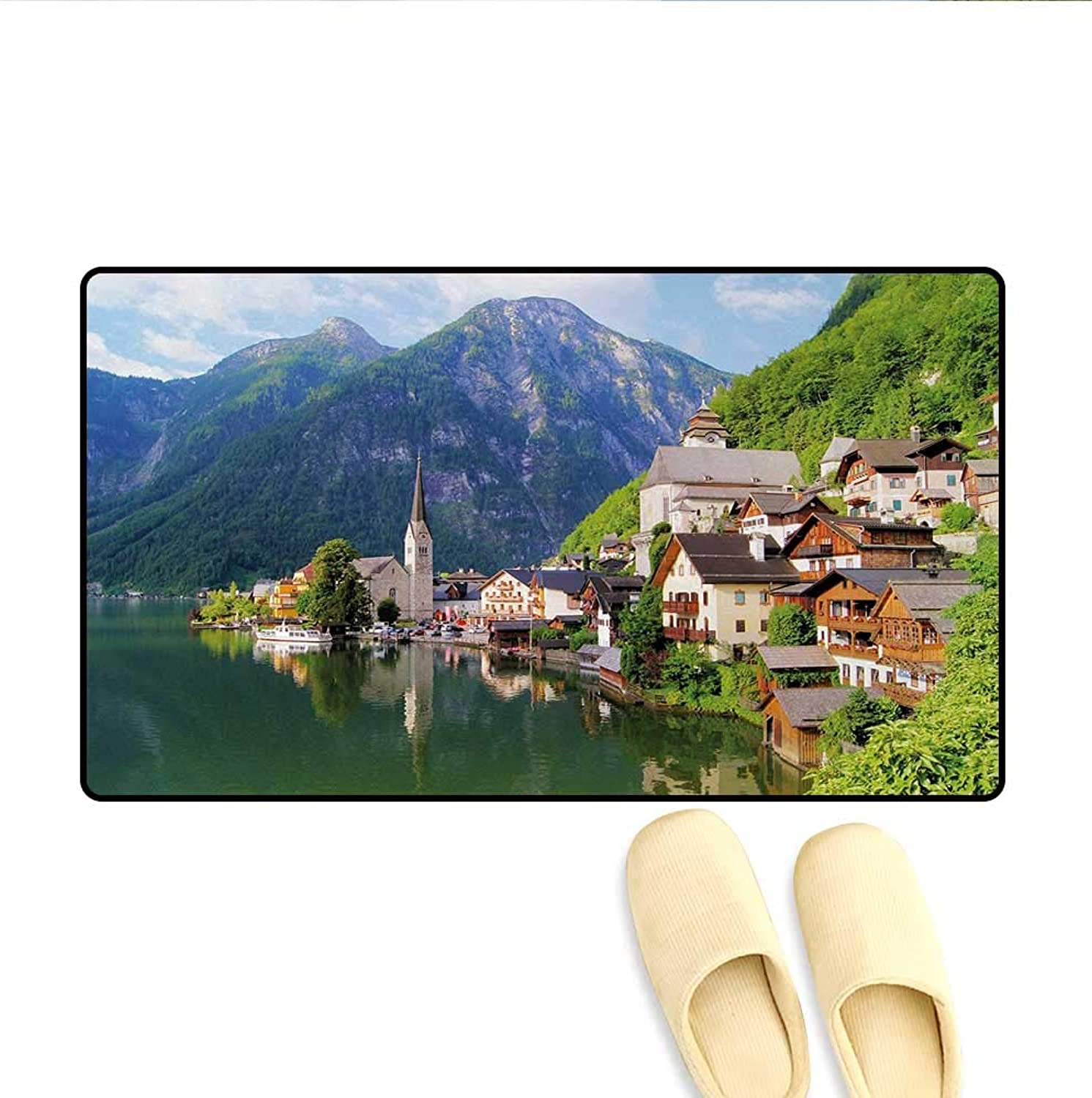 Door-mat,Idyllic Alps Village Small Town by Majestic Mountain Lake European Pastoral Scenery,Door Mats for Inside Bathroom Mat Non Slip,Multicolor,Size 32 x48