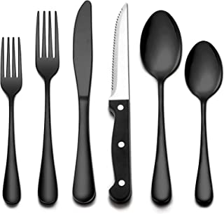Wildone 24-Piece Black Flatware Set with Steak Knives, Stainless Steel Silverware Cutlery Set Service for 4, Tableware Eat...