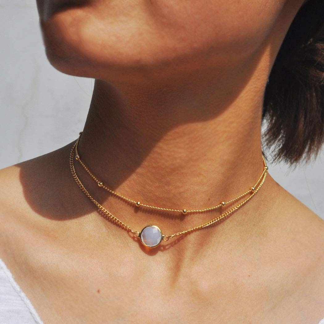 Fstrend Fashion Layered Necklace Dainty Rhinestone Simple Choker Necklaces Jewelry for Women and Girls (Gold)