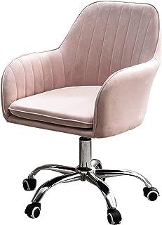 KYSZD-Uhren Silla de Oficina de Terciopelo Dorado, Silla de Escritorio ergonómica Silla ejecutiva Silla de computadora Ajustable para sillas de Escritorio de Oficina en casa (Rosa)