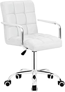 Furmax Mid-Back Office Task Chair,Ribbed PU Leather Executive Chair,Modern Adjustable Home Desk Chair, Comfortable Retro Work Chair,360 Swivel with Arms (White)