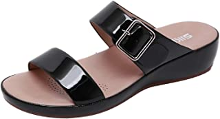 SNOWSONG Womens Ankle Buckle Slip On Wedge Sandals Slides Open Toe Casual Flat Patent Leather Slippers