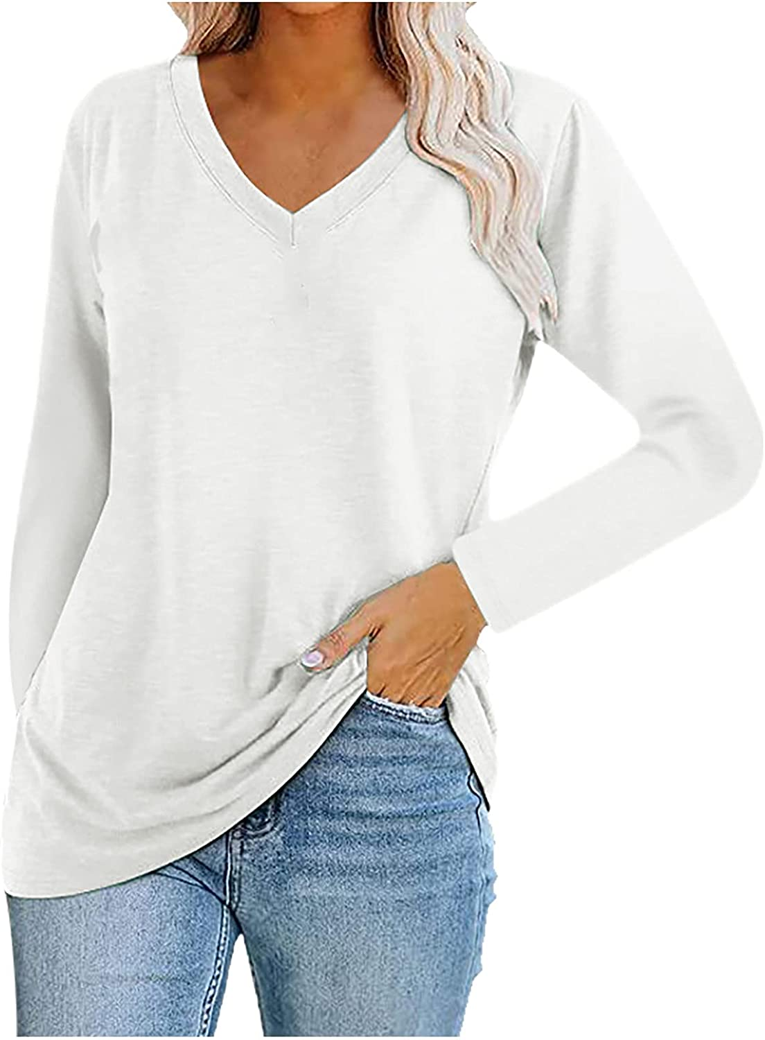 Women V-Neck Long Sleeve Shirts Autumn Solid Color Blouse Tops Casual Loose Pullover Tunic Tops Tops