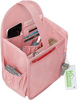 VANCORE リュックインナーバッグ 自立 バッグインバッグ ナイロン超軽 収納バッグ レディース メンズ バックインバック 縦型 ポケット多い ピンク L