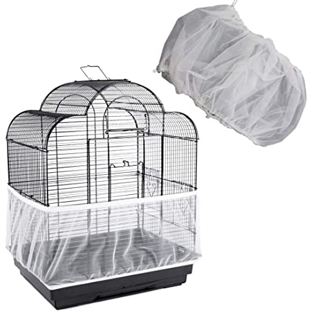 Hakeeta Bird Cage Skirt Birds Cage Airy Net Cover Large Size-XL Mesh Bird Seed Catcher Soft Nylon Ventilated Skirt Traps Cage Basket Seed Guard Parrot with Adjustable Drawstring.