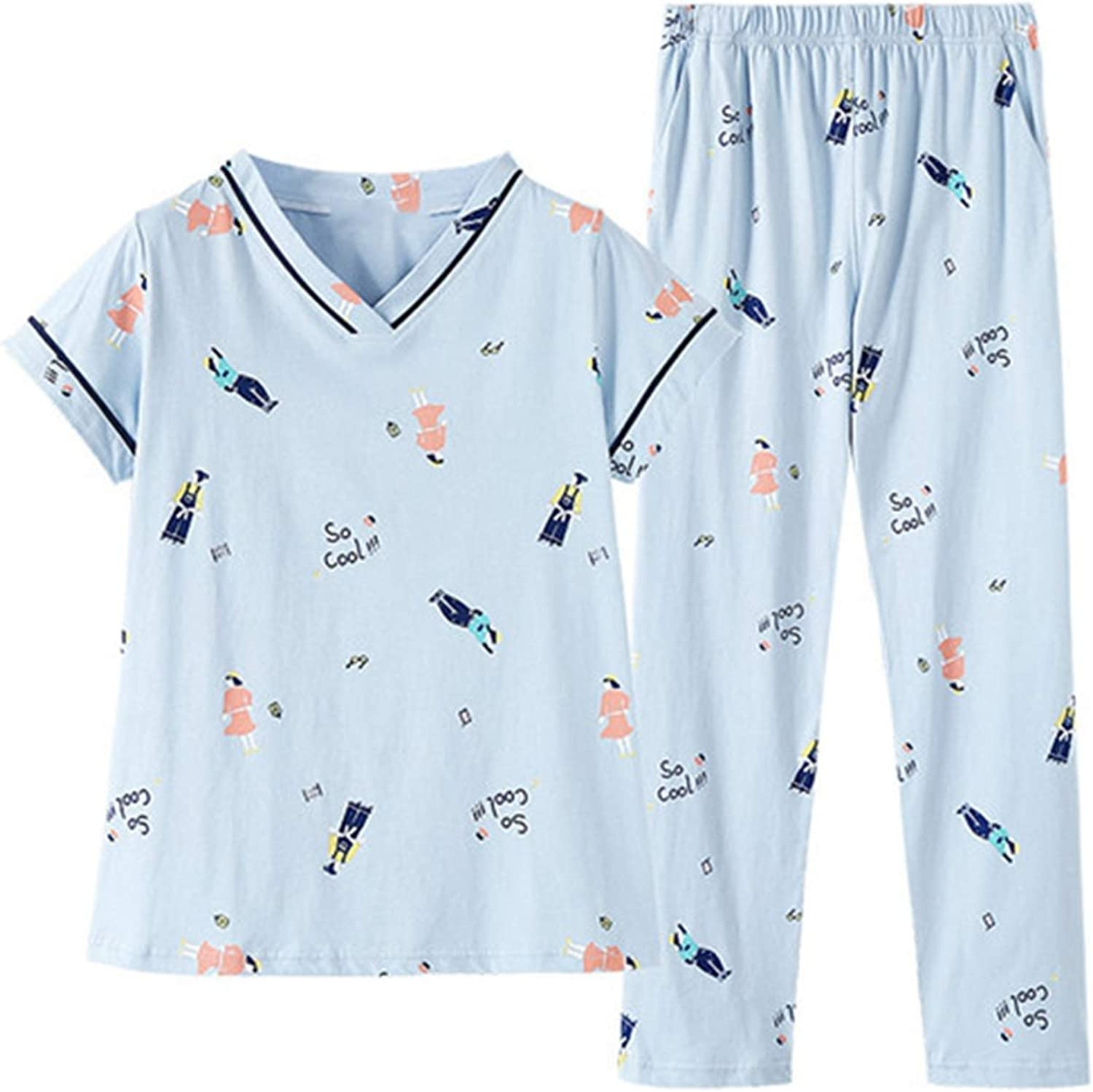 Phillip Dudley Women's Cotton Large Size V Collar Pajamas Long Pants Korean Printing Fat MM