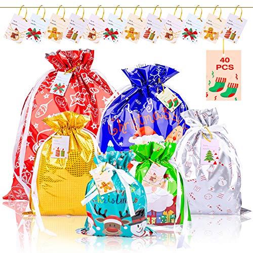 SPLAKS Sacs Cadeaux Noël Lot de 40 Grands Sacs Emballage Cadeaux avec des Liens de Ruban pour la Fête de Noël, Cadeaux, Décorations de Vacances