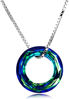 925 Sterling Silver Circle Necklace with Swarovski Crystal, Jewelry for Women Teen Girls