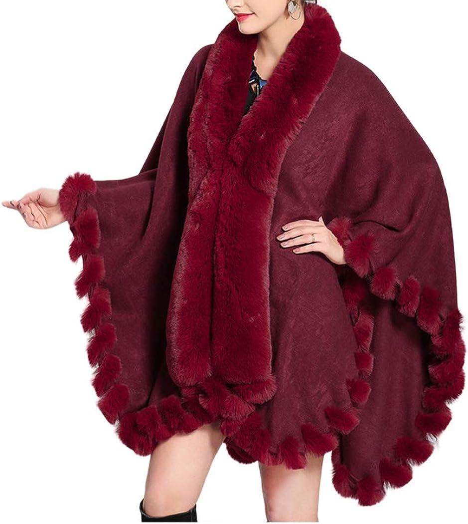 Tngan Faux Fox Fur Trim Cardigan Cloak Shawl Wraps Winter Poncho Oversized Cape