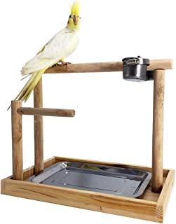 Borangs Parrot Playstand Bird Playground Wood Perch Gym Training Stand Playpen Bird Toys Exercise Playgym for Parakeet Conure Cockatiel Small Birds Cage Accessories Exercise Toy (Include a Tray)