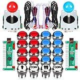 Fosiya 2 Jugador Arcade Joystick LED Chrome Botones de Arranque para PC MAME Frambuesa Pi Video Juegos Arcade Gabinete de Piezas (Rojo Azul)