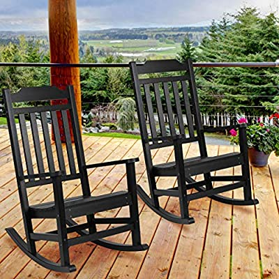 EMMA + OLIVER 2 Pack All-Weather Rocking Chair in Black Faux Wood - Patio and Yard Furniture