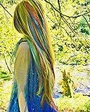 Pelucas coloridas de color arcoíris, pelucas de encaje frontal sintético, color morado/rojo/verde/azul para cosplay, reina de 24 pulgadas