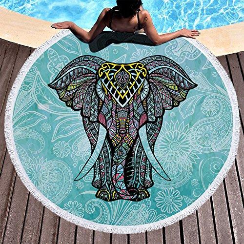 Chickwin Beach handdoek, strandgooi grote ronde zachte kwast Boho olifant microvezel strand vakantie bad lichtgewicht handdoek zonnebrandcrème Camping Gym sporthanddoek 150 cm