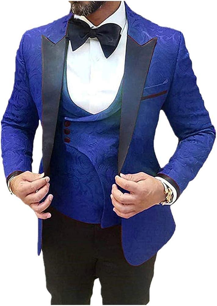 Pattern Men Suits 3 PCs (Jacket+Pants+Vest) Slim Fit Blazer Wedding Prom Grooms Tuxedo Custom Made