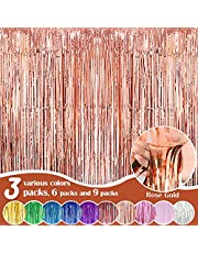 Fachoige 3pack 3.2ft x 6.6ft Metallic Tinsel Foil Fringe Curtains Wedding for Birthday Engagement Bridal Shower Bachelorette Holiday Celebration Party Decorations and Photo Booth Props…