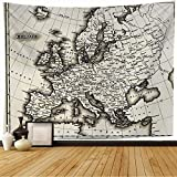Tapiz de pared Borde de España Área antigua Inglaterra 1799 Mapa antiguo Europa Vintage Hungría Reino Unido Carretera Noruega Italia Irlanda Tapiz Tapiz de playa para colgar en la pared para decoració