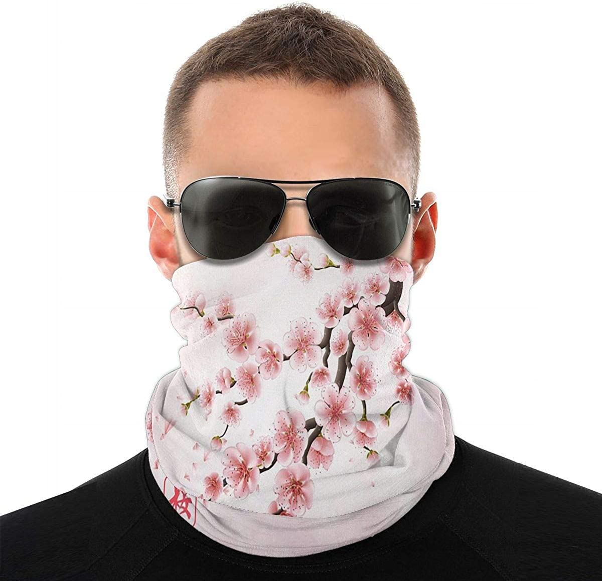 KiuLoam Japan Cherry Branch with Flowers Seamless Face Mask Bandanas Neck Gaiter for Men and Women, Multifunction Headband Scarf for Dust, Outdoors, Sports