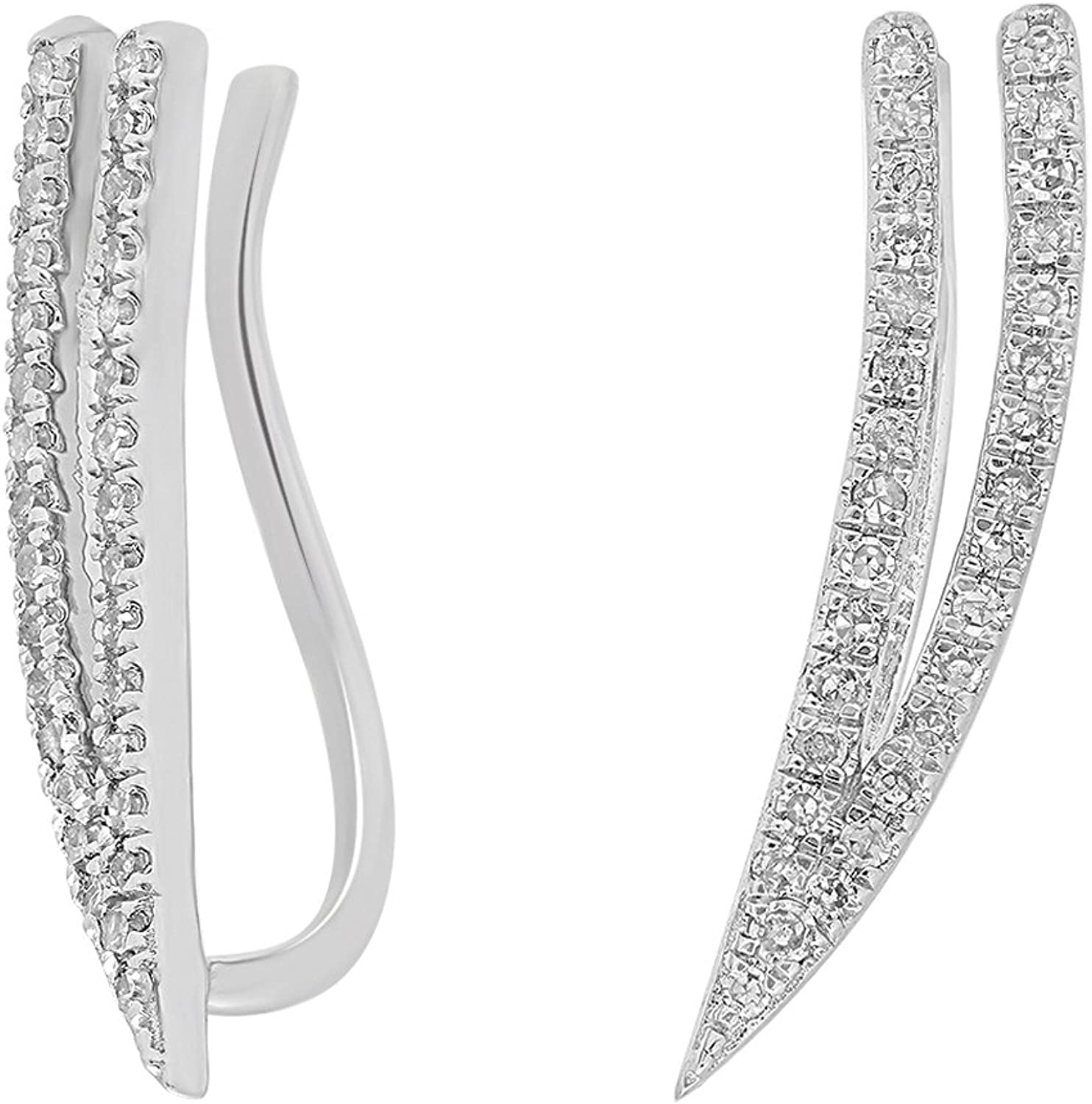 0.20 Carat (ctw) 10K White gold Round Cut White Diamond Double Row Crawler Climber Earrings 1 5 CT
