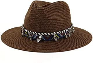 Straw Fedora Hat Men Khaki Breathable Jazz Hat Women Casual Btitish Style Sun Cap Vintage Summer Autumn Panama Caps` TuanTuan (Color : Coffee, Size : 56-58CM)
