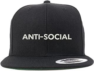 Trendy Apparel Shop Anti Social Embroidered Flat Bill Snapback Baseball Cap