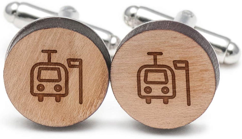 Tram Station Cufflinks, Wood Cufflinks Hand Made in the USA