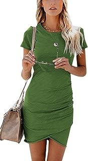 Walant Womens Short Sleeve Sheath Dress Solid Color Irregular Summer Bodycon Mini Dress