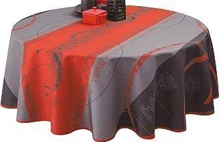 Le linge de Jules Nappe Anti-Taches Astrid Rouge - Taille : Ronde diamètre 160 cm